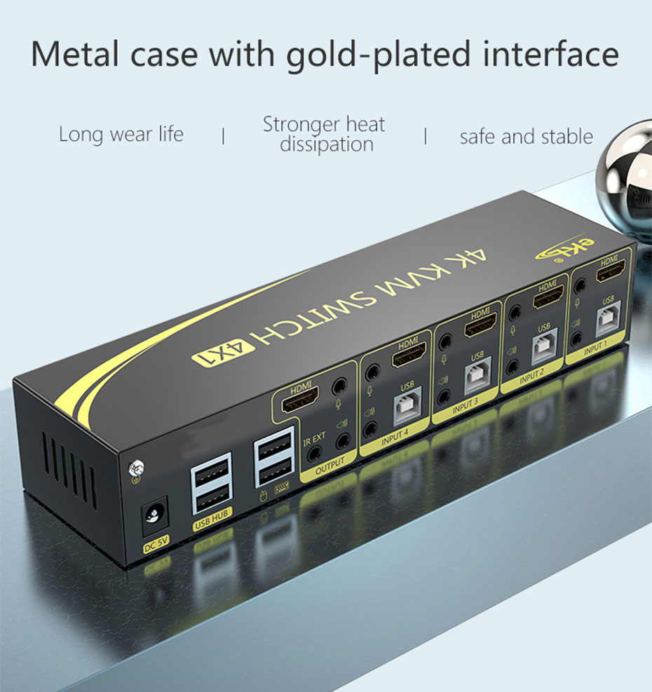 4 in 1 out HDMI KVM switch 41HH2.0 adopts metal shell design