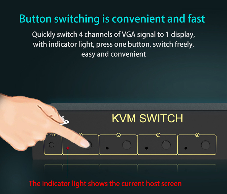 VGA KVM switch 4 in 1 out 41U supports button switching