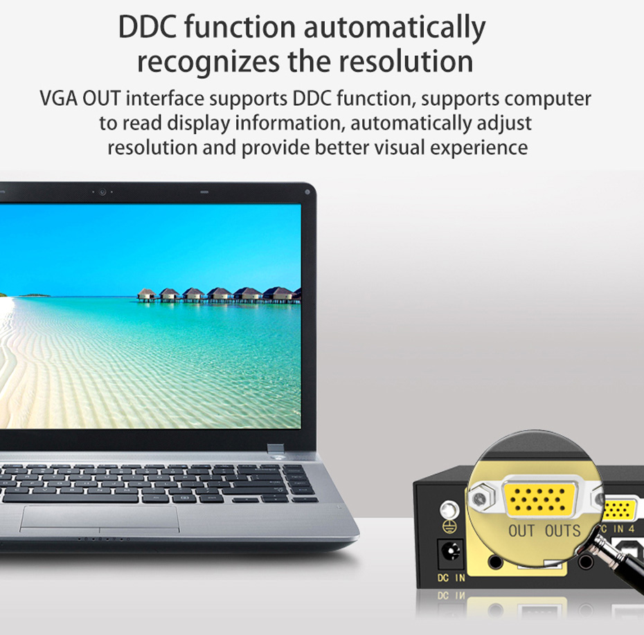 VGA KVM switch 4 in 1 out 41U supports DDC automatic recognition resolution function