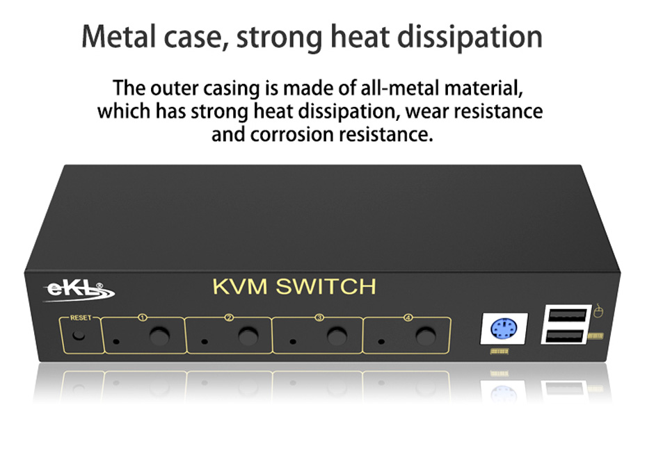 VGA KVM switch 4 in 1 out 41U with metal housing