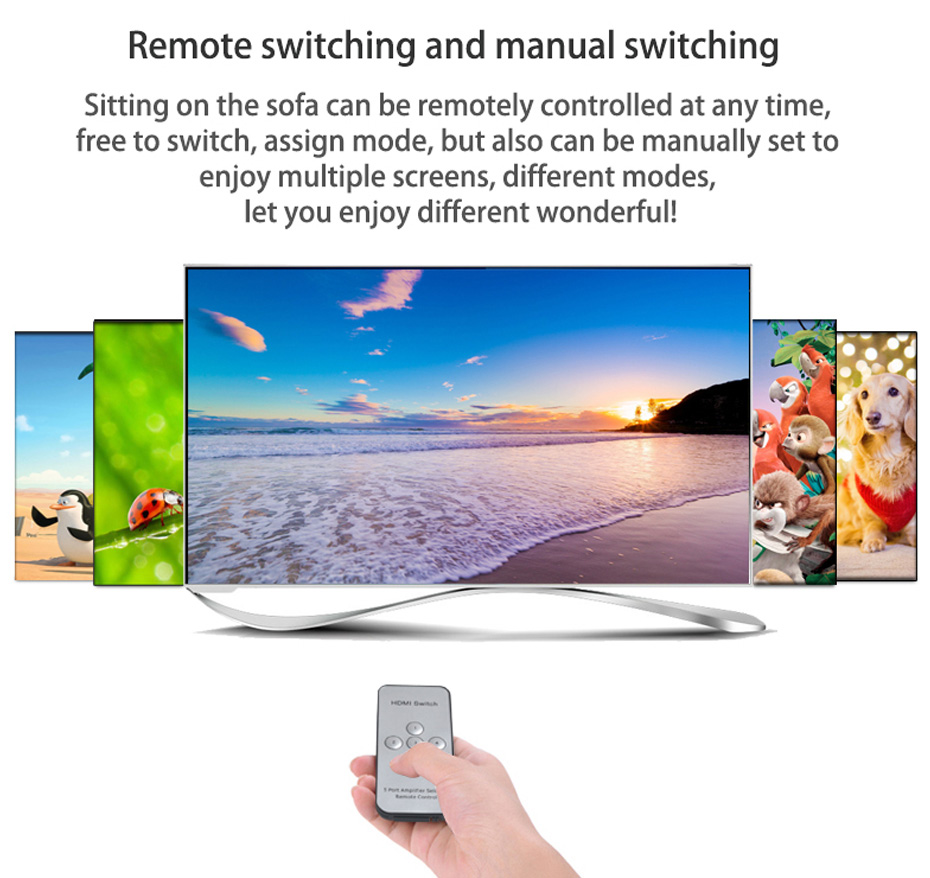 HDMI matrix 4 in 4 out 414H support remote control, manual switching