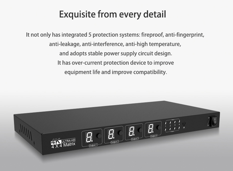 HDMI matrix 4 in 4 out 414H security protection