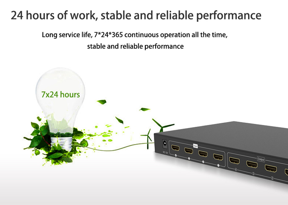HDMI matrix 4 in 4 out 414H 7*24 hours stable operation